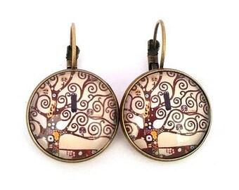 Earrings Gustav Klimt, tree of life, glass cabochon 18 mm, bronze charm, gift idea, alodycrea