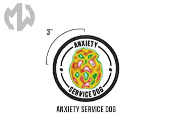 "ANXIETY Service Dog 3"" round Service Dog Patch"
