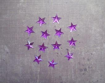 Set of 48 rhinestones form Star 1.3 cm purple
