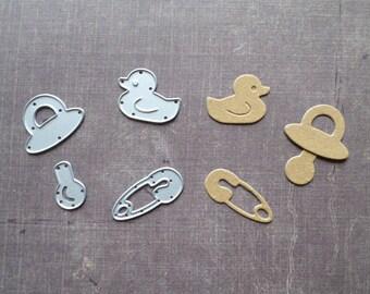 Die cut Sizzix baby birth duck bath safety pin nipple