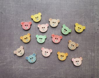 20 buttons wood animal head gingham baby birth bear