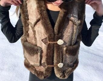 Mens Vintage 70s Shearling Vest w/ Antler Buttons