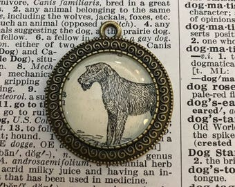 Handmade Vintage Dictionary Dog Necklace - Irish Wolfhound