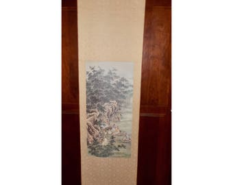 """Chinese scroll wall hanging,Seven Worthies of the Bamboo Grove,Japanese art wall hanging,Seven Sages,satin oriental wall hanging,5' x 18"""""""