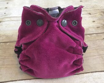 Cloth Diaper, Raspberry Pink & Dark Gray Fitted Diaper, Newborn cloth diaper, Fitted Cloth Diaper
