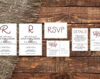 Wedding Invitation Suite | Wedding Invitation | Wedding RSVP Card | Wedding Details Card | Wedding RSVP Post Card | Wedding Suite Bundle