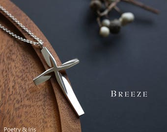 Breeze (XS)(S)- sterling Silver Cross Necklace with Italian Chain -