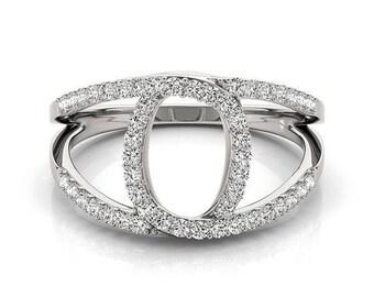 Intertwined Split Band Horseshoe Diamond Ring in 14k White Gold