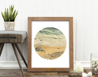 beach photography download, beach print, ocean waves, nautical decor, seascape, neutral, beach home decor, circle print, california art