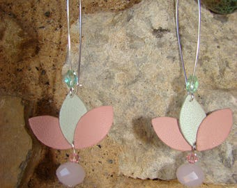 Silver earrings leather and Crystal beads