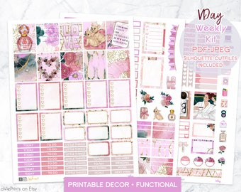 Valentine's Printable planner Stickers, use with Erin Condren, functional stickers, decor, florals, hearts, dogs, romance, love, sweet, eclp