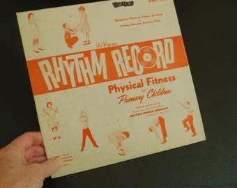 Vintage Exercise Record for Children, Physical Fitness, Educational, Therapy, Physical Fitness Album, Primary Children, Home School Supplies
