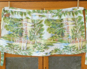 Countryside Blue Green Vintage Half Apron, Paneled Pocket, Old Style, Country Chic, Farmhouse Style, Spring, Garden, Laundry, Painter's Gift