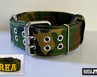 Military / Camouflage Strong Dog Collar with Text/Name and/or Phone Number - Heavy Duty - Embroidered