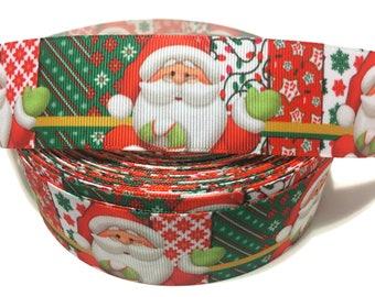 Santa Claus Ribbon, Santa Ribbon, Christmas Ribbon, Christmas Grosgrain Ribbon