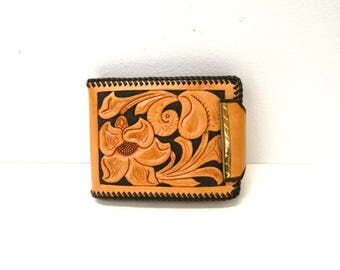 Vintage 1960s Tooled Leather Wallet...Flower Design...Initials BDC...Genuine Leather Handmade by Phipps...Billfold Coin Purse