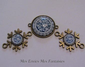 3 bronze connectors for Cabochons 25 and 12mm + 3 pinwheel flowers white and blue glass cabochons B3