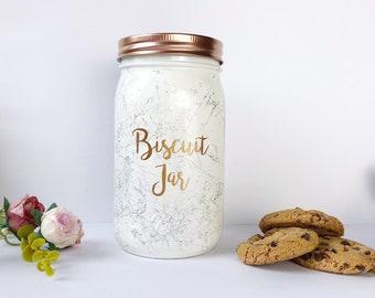 Biscuit Jar, Kitchen Storage, rose gold Cookie Jar, marble accessories, cookie tin, copper kitchen decor, marble storage jar, rose treat jar