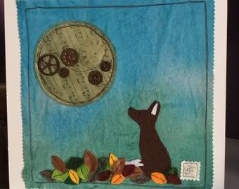 Moon gazey fox mixed media picture