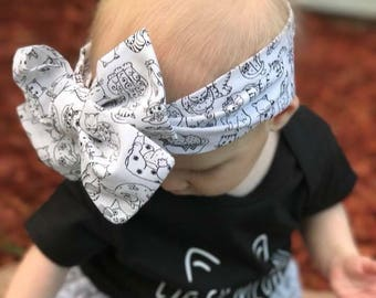 Cat Head Wrap, fabric head wrap, newborn-toddler head wrap, one size fits all, tie