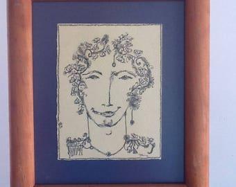 Hombre joven 3,dibujo en tinta negra sobre papel sin ácido