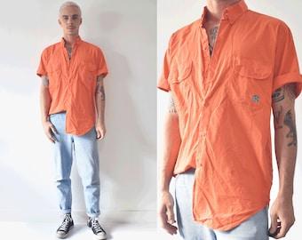 Guy Laroche Paris Monsieur Orange Short Sleeve Button Up Shirt/ 90s Pocket Shirt