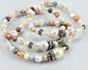 Minimalist Multi Pearls Stack Bracelet with Rhinestones and Baroque Pearl