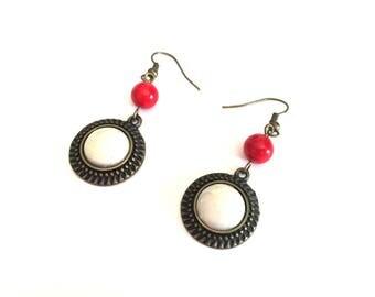 Red Pearl Earrings - Bronze