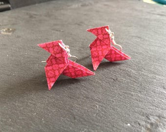 Small flowers - silvered Metal and Cocote Origami Rose earrings