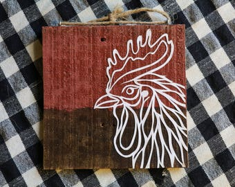 Papercut Rooster on Barn Wood