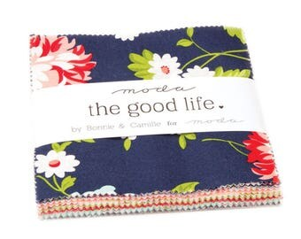 "The Good Life Charm Pack by Bonnie and Camille from Moda Fabrics, 42 - 5""x5"" Squares, Navy, Red Floral"