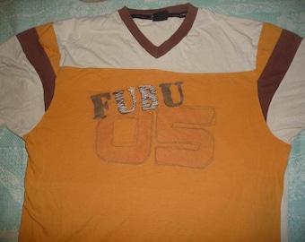 FUBU jersey, brown vintage Fubu t-shirt of 90s hip-hop clothing, 1990s hip hop shirt, cotton, old school, OG, gangsta rap, size XL