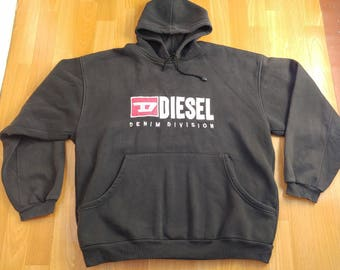 DIESEL hoodie, sweatshirt of vintage 90s hip-hop clothing, 1990s hip hop shirt, black, OG, gangsta rap, size XL