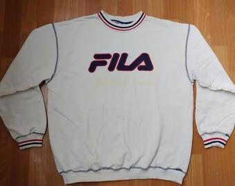 FILA sweatshirt vintage white shirt, 90s hip-hop clothing, old school 1990s hip hop shirt, OG, gangsta rap, sewn, size L Large