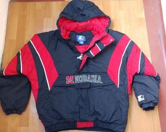 NFL STARTER Nebraska Huskers Jacket, vintage 1/2 half zip anorak parka, football, 90s hip-hop clothing 1990s hip hop nylon coat size XXL 2XL
