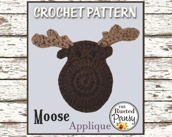 004 - Moose Applique Crochet PATTERN, Instant Download