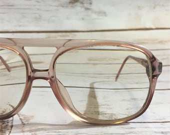 Vintage Eyeglasses, 70s Aviator Glasses Dusty Rose Pink Eyeglasses, 70s Eyeglasses, Handmade Vintage Eyewear, Vintage Frames, Pink Aviators