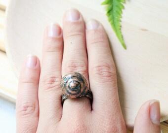 Snail shell ring Electroformed snail shell ring Copper shell ring Snail ring Shell ring Electroformed ring Gift for her For girl