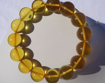 100% NATURAL Highest Quality BALTIC AMBER 14 mm Round Beads Bracelet Sunny Lemon 21 grams