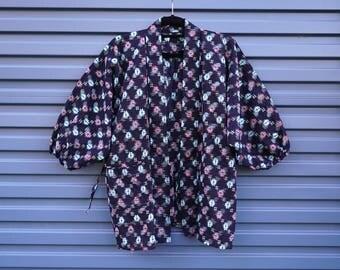 Vintage Japanese indigo dyed patterned kimono robe,boro, peasant clothing, authentic. beautiful, loose fit,