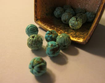 Carved Turquoise Magnesite Lotus Beads, 8mm, Set of 2