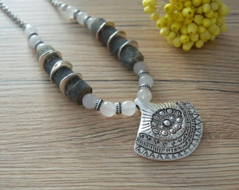 Moonstone & Labradorite Necklace Jewelry, African Moroccan necklace, Ethnic Tribal Berber, Bohemian Mother's Day gift