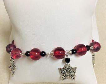 "Bracelet ""Red and black butterflies"""