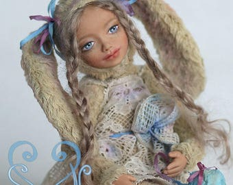 Art doll teddy doll Bunny Mila. (New)