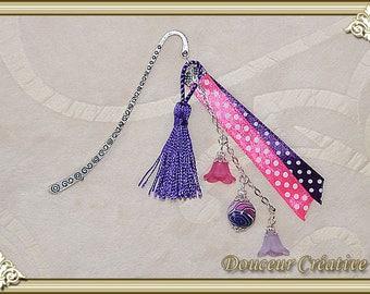 Bookmark pink violet purple white black pearl 305014