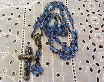 """Vintage 18"""" ice blue crystal glass beads rosary chaplet Italy"""