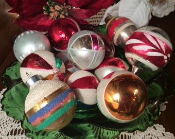 Mid century mix box Christmas tree glass ornaments West Germany Poland