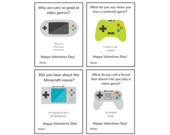 Video Game Valentines Printable - Gamer Valentines Day Cards for Kids - Valentines for Gamer - Boys Valentine Cards Printable - Wii Nintendo