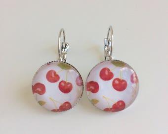 Cherry cabochons earrings