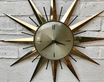 Vintage Retro Starburst Clock Metamec #619